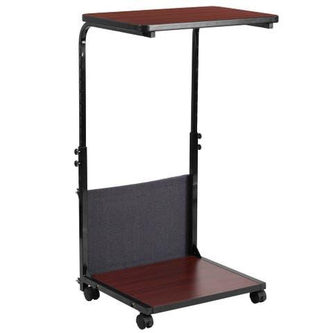 "Mobile Sit/Stand Mahogany Desk w/ Removable Pouch (Adj Range 27"" - 46.5"")"
