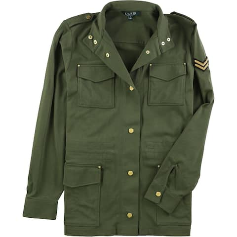 Ralph Lauren Womens Four Pocket Military Jacket, Green, Large