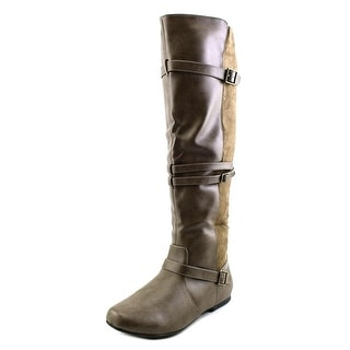 Qupid Neo-152X Women Round Toe Synthetic Gray Knee High Boot