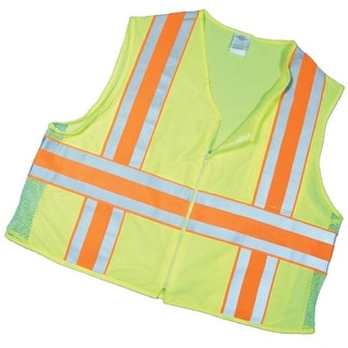 Mutual 16343-0-5 ANSI Class 2 Deluxe Dot Mesh Vest with Pockets, 2X-Large, Lime