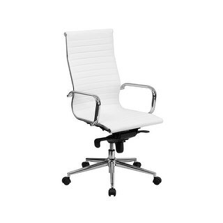 Offex High Back White Ribbed Upholstered Leather Executive Office Chair [OF-BT-9826H-WH-GG]