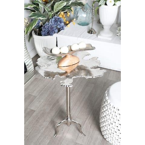 Silver Aluminum Contemporary Accent Table 27 x 27 x 23 - 27 x 23 x 27