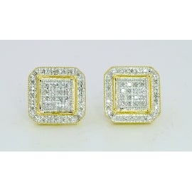 12mm Wide 1/4 Cttw Diamond Stud Earrings for Mens In 10k Gold Pave Set