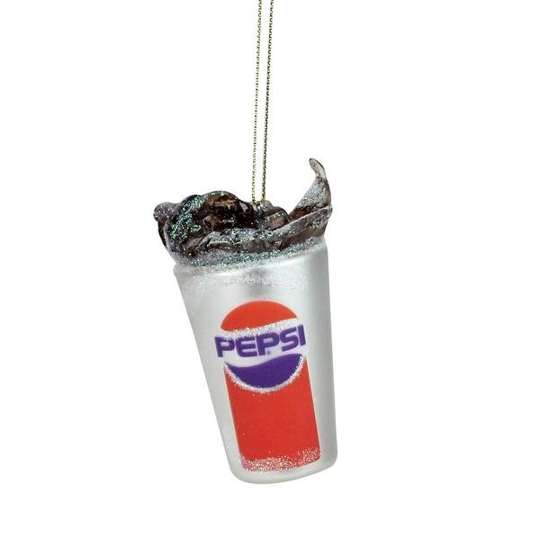 "3.5"" Silver Pepsi Fountain Drink Soda Splash Decorative Glass Christmas Ornament"