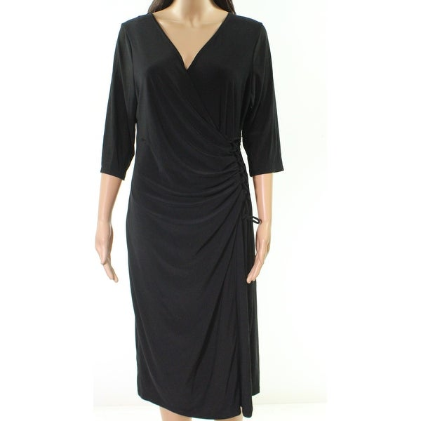61b5a5f825319 Shop Kiyonna Black Womens Size 0 Plus Side Lace-Up Surplice Wrap Dress - On  Sale - Free Shipping On Orders Over $45 - Overstock - 27885061