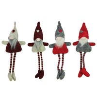 Set of 4 Red Gray and Beige Plush Gnome Christmas Ornaments 8""