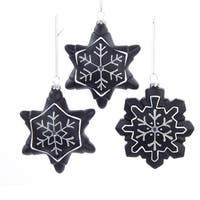 "4.25"" Chalkboard Paint Glitter Gem Snowflake Christmas Ornament for Personalization - black"
