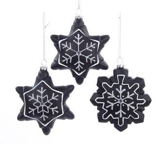 "4.5"" Chalkboard Paint Glitter Gem Snowflake Christmas Ornament for Personalization"