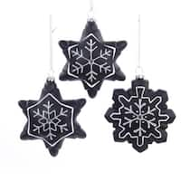 "4.5"" Chalkboard Paint Glitter Gem Snowflake Christmas Ornament for Personalization - black"