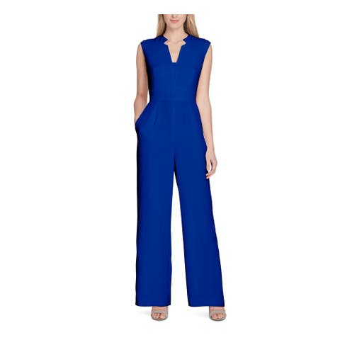 TAHARI Womens Blue Solid Sleeveless Straight leg Jumpsuit Size 12