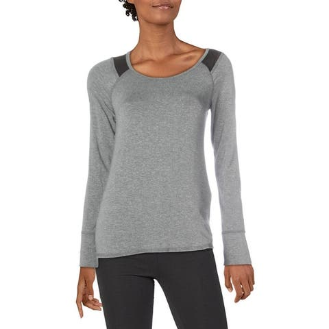 Splendid Women's Marled Mesh Inset Long Sleeve Activewear Fitness T-Shirt