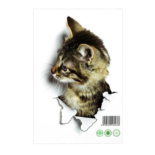 9.8 by 6.5 Inch Artificial 3D Cat Wall Stickers Art Decals Self-sticky DIY