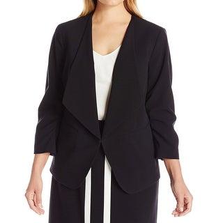 Nine West NEW Black Women's Size 18W Plus Collarless Open-Front Jacket