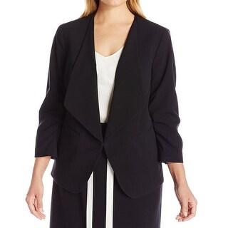 Nine West NEW Deep Black Womens Size 18W Plus Basic Front-Tie Jacket