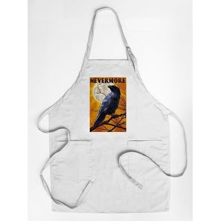 Nevermore - Raven and Moon - Lantern Press Artwork (Cotton/Polyester Chef's Apron)