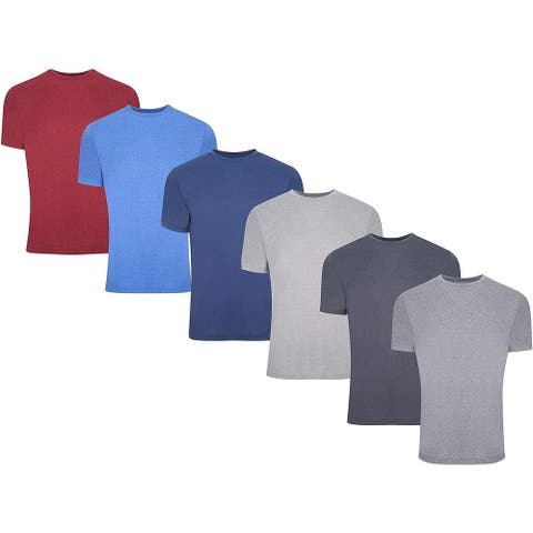 6 Pack: Mens Active Dry Fit Moisture Wicking Muscle Sleeveless Athletic Performance Heather Short Sleeve Top