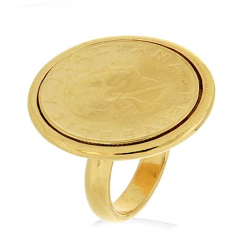 Forever Last 18 kt Gold Plated Women's 200 Lira Coin Ring