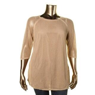 Lauren Ralph Lauren Womens Plus Knit Side Slit Pullover Sweater - 1X