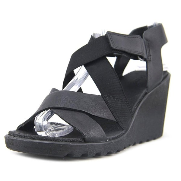 Ecco Freja Wedge Women Open Toe Leather Black Wedge Sandal
