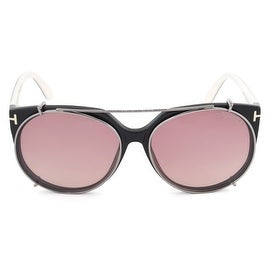 Tom Ford Agatha Black Oval Sunglasses with clip ons