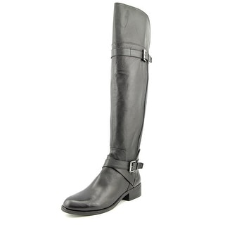 Nine West Possesso Women  Round Toe Leather Black Over the Knee Boot