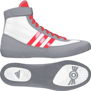 Adidas Combat Speed 4 Youth Wrestling Shoes - White/Red/Gray