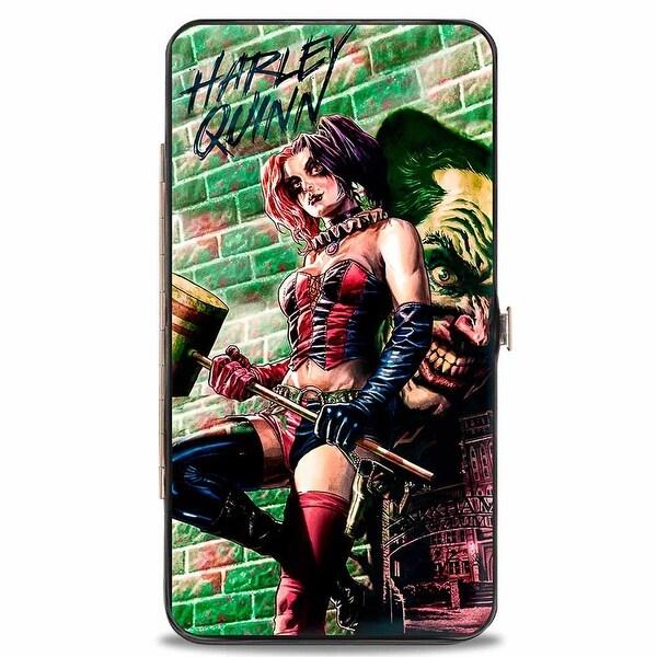Harley Quinn Hammer Pose Joker Face Arkham Asylum Secret Origins Issue #4 Hinge Wallet One Size - One Size Fits most