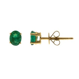 Link to Anika and August 14k Yellow Gold Zambian Emerald Stud Earrings Similar Items in Earrings