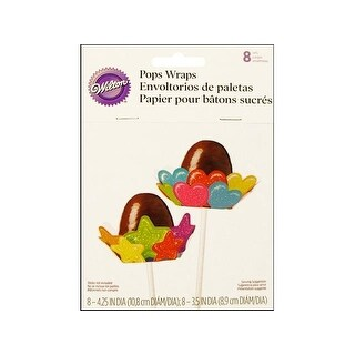Wilton Pops Wrap Astd Hearts & Stars 8pc