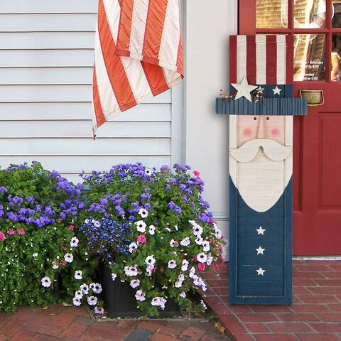"Glitzhome 36""H Wooden/Metal Patriotic Uncle Sam Porch Sign"