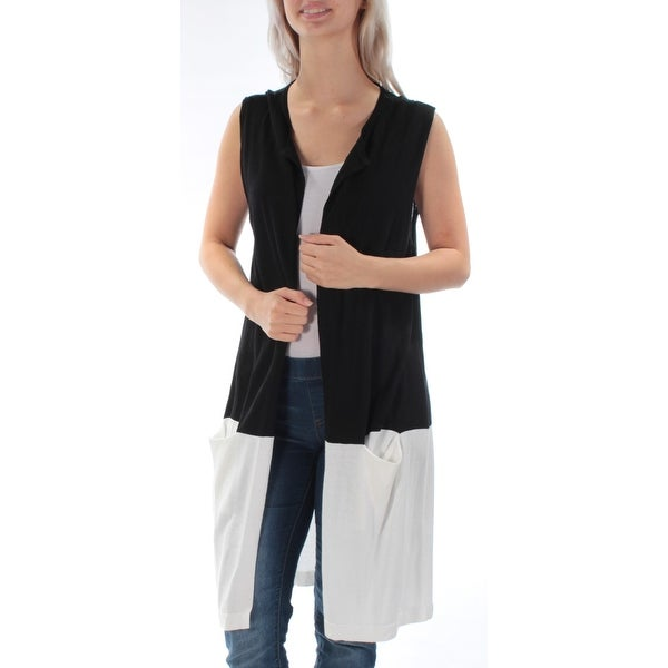 VINCE CAMUTO Womens Black Long Sleeveless Open Sweater Size: S