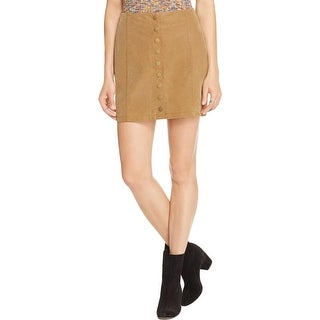 Free People Womens Mini Skirt Suede Snap Closure - 8