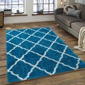 "Allstar Turquoise Dense High Pile Posh Shaggy Area Rugs, Soft, Comfortable, Modern & Contemporary (5' 0"" x 7' 0"")"