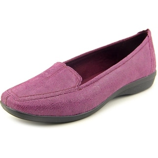 Clarks Haydn Gloss Women W Square Toe Leather Purple Loafer