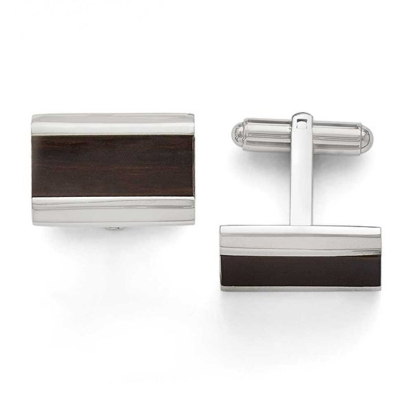 Chisel Stainless Steel Polished Black Wood Inlay Enameled Cuff Links