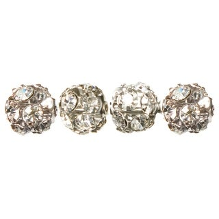 Jewelry Basics Metal Beads 8mm 4/Pkg-Silver & Clear Rondelle - Silver