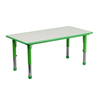 Offex 23.625''W x 47.25''L Height Adjustable Rectangular Green Plastic Activity Table with Grey Top