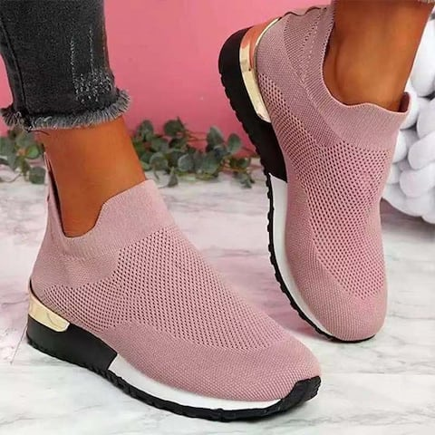 Flying Knit Socks Shoes Stretch Cloth Plus Size Women's Shoes