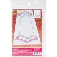 "Stamped Perle Edge Dresser Scarf 15""X42""-Border Flower"