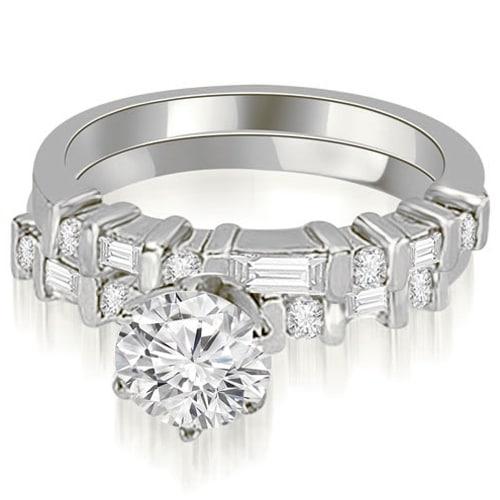 1.55 cttw. 14K White Gold Round and Baguette Diamond Bridal Set