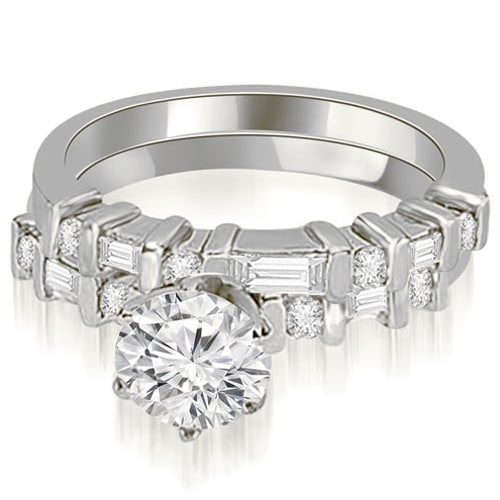 1.55 cttw. 14K White Gold Round and Baguette Diamond Bridal Set