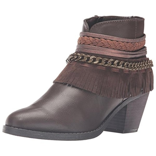 Rampage Womens Tumble Ankle Boots Faux Leather Fringe