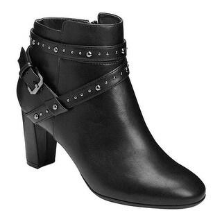 A2 by Aerosoles Women's Octave Bootie Black Faux Leather