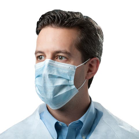Single-Use Disposable Non-Woven 3-Ply Cloth Face Mask, Universal Sizing, 50pcs, Blue - Unisex