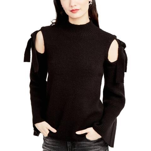 Rachel Rachel Roy Womens Mock Turtleneck Sweater Cold Shoulder Bell Sleeves