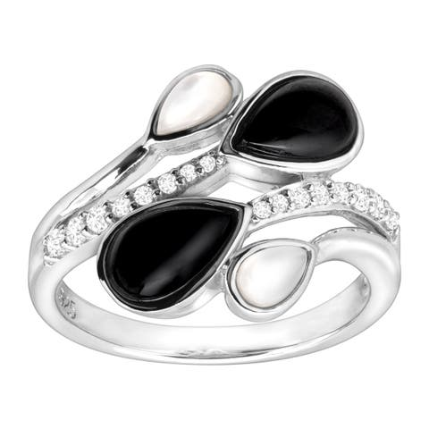 1/5 ct Natural White Topaz, Onyx & Mother-of-Pearl Ring in Sterling Silver - Black