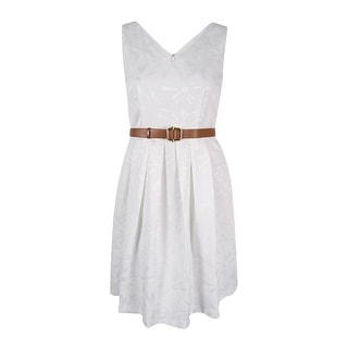 Tahari ASL Women's Sleeveless Belted Textured A-Line Dress - White