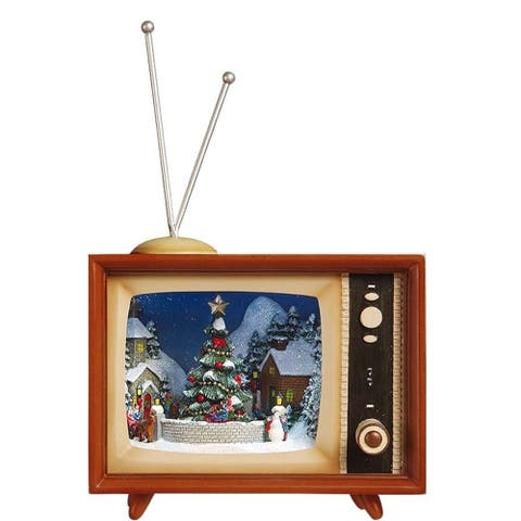 """Set of 2 Brown and Beige Classic Bluetooth Christmas Tree TV 8.50"""""""