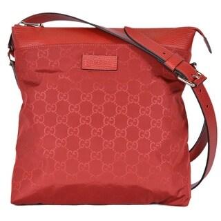 "Gucci 510342 Red Nylon Leather GG Guccissima Crossbody Messenger Purse Bag - 10"" x 11"" x 2.5"""