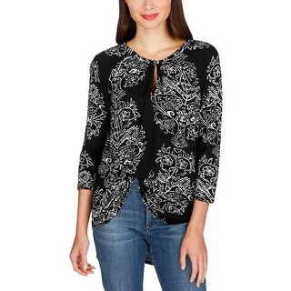 Lucky Brand Womens Blouse Printed 3/4 Sleeves